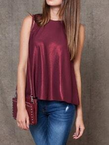 Red Round Neck Hollow Back Tank Top