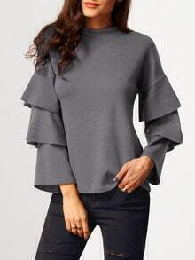 Grey Stand Collar Cascading Ruffle Sleeve Blouse