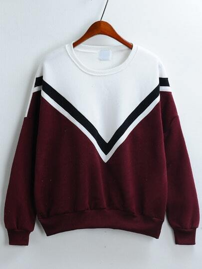 Colour-block V Pattern Loose Sweatshirt