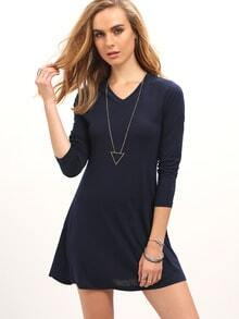 Navy V Neck Long Sleeve Loose Dress