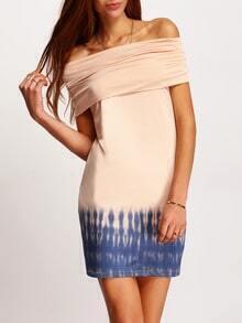 Apricot Off The Shoulder Print Sheath Dress