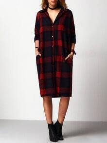 Red Plaid Long Blouse With Pockets