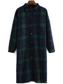 Green Plaid Dropped Shoulder Seam Long Blouse