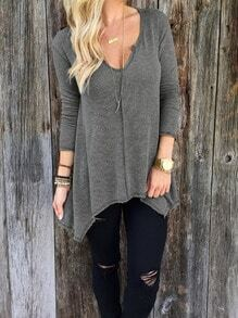Grey V Neck Asymmetrical T-Shirt