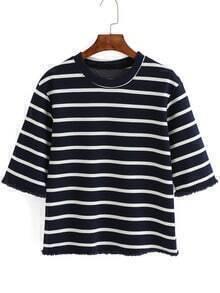 Navy White Striped Fringe T-Shirt
