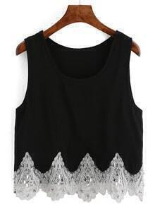 Black Embroidered Sequined Tank Top
