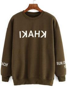 Army Green Dropped Shoulder Seam Letter Print Sweatshirt