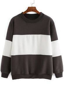 Color-block Crew Neck Loose Sweatshirt