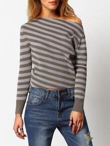 Grey Oblique Shoulder Striped Ribbed Sweater