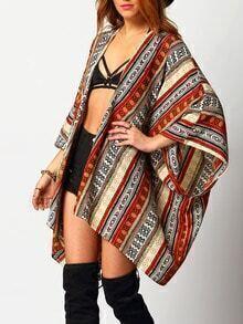 Multicolor Geometric Print Loose Kimono