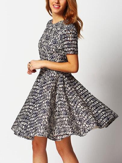 Black Short Sleeve Flare Dress