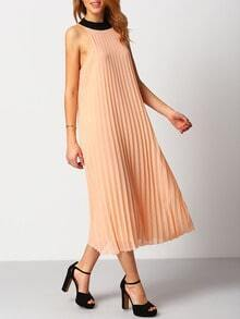 Pink Contrast Lace Up Pleated Dress