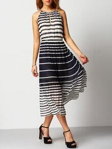 Color-block Striped Pleated Lace Up Dress