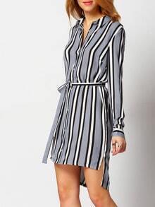 Dip Hem Vertical Striped Split Shirt Dress