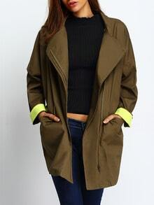 Army Green Dropped Shoulder Seam Contrast Cuffed Coat