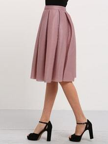 Champagne High Waist Pleated Flare Skirt