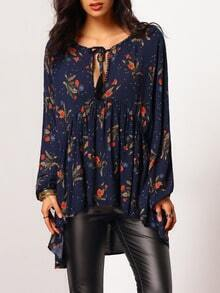 Long Sleeve Loose Floral Blouse