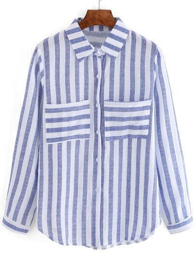 Blue White Vertical Stripe Pockets Blouse