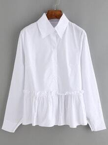 White Lapel Long Sleeve Ruched Blouse