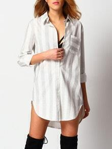 Grey Lapel Vertical Stripe Pocket Shirt Dress