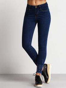 Blue Slim Ripped Fringe Denim Pant