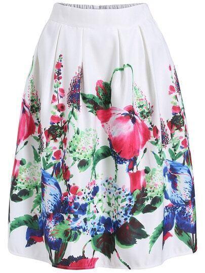 Colour Elastic Waist Floral Flare Skirt