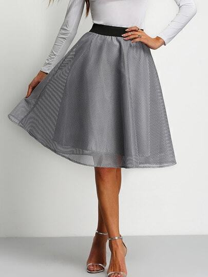Grey High Waist Grid Flare Skirt
