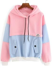 Colour-block Drawstring Hooded Pockets Sweatshirt