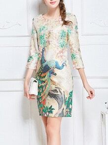 Colour Round Neck Peacock Print Slim Dress