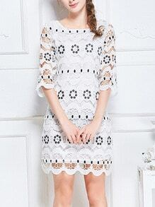 White Half Sleeve Hollow Embroidered Dress