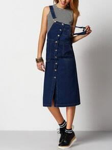 Navy Strap Buttons Denim Pinafore Dress