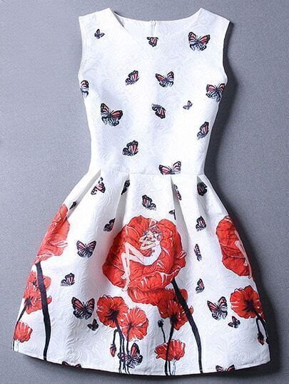 Red White Sleeveless Floral Jacquard Dress