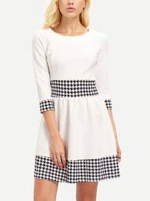 White Black Round Neck Houndstooth Flare Dress