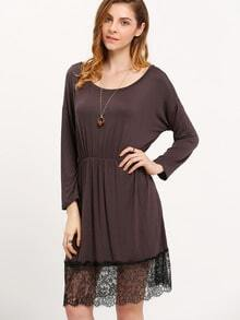 Grey Boat Neck Lace Hem Loose Dress