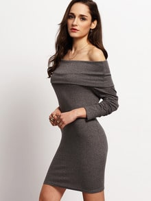 Grey Off the Shoulder Bodycon Dress