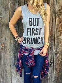 Grey Letters Print Tank Top