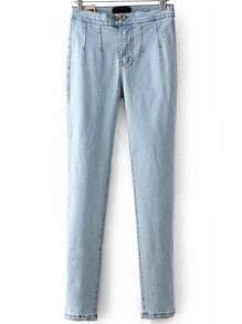Pantalón botones denim lápiz -azul