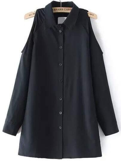 Black Lapel Cold Shoulder Loose Blouse