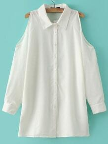 White Lapel Cold Shoulder Loose Blouse