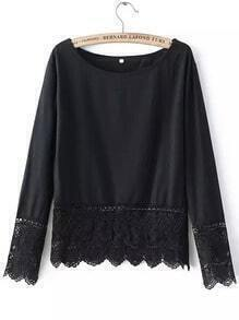 Black Round Neck Lace Loose Blouse