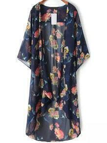 Colour Floral Chiffon Loose Kimono