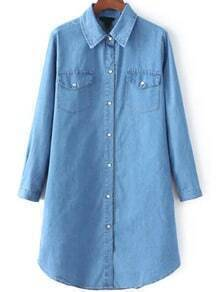 Blue Lapel Long Sleeve Pockets Denim Shirt Dress