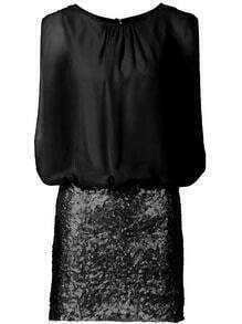 Vestido sin manga gasa entallado -negro