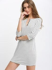 White Elbow Sleeve Striped Tshirt Dress