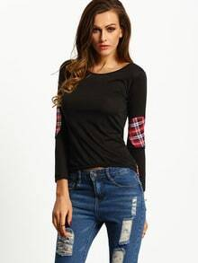 Black High Low Plaid Elbow Patch T-shirt