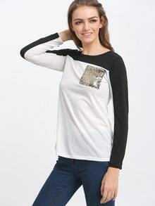 Contrast White T-shirt With Sequined Pocket