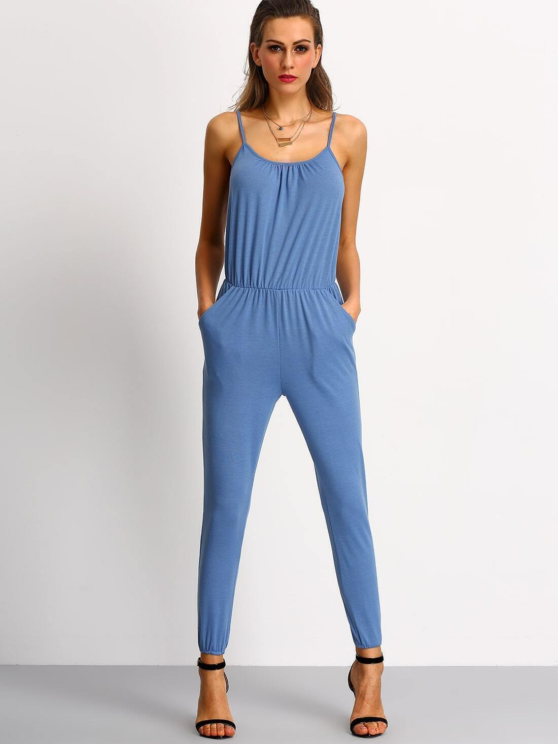 Blue Spaghetti Strap Pockets Slim Jumpsuit