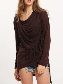 Brown Cowl Neck Fringe Asymmetrical Coat