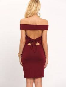Burgundy Off The Shoulder Strappy Back Bodycon Dress