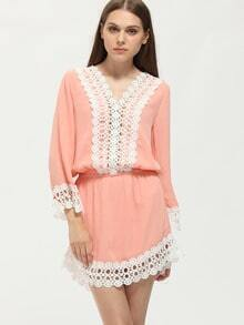 Pink Contrast Lace Hem Dress